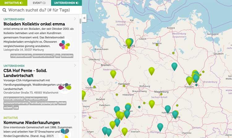 Die Karte von morgen: Initiativen des Wandels lokal finden