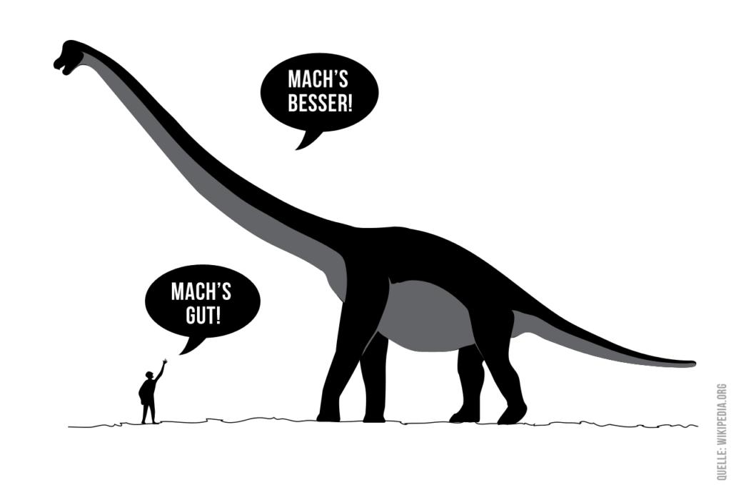 Dialog zwischen Mensch und Dinosaurier über eine bessere Welt